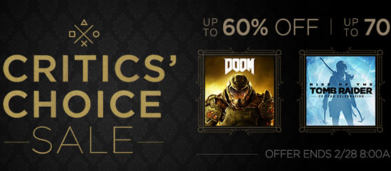 PSN Game Deals: Critics' Choice Sale and EA Publisher Sale [Digital] - Picture Credit: Sony PlayStation Network PSN Store