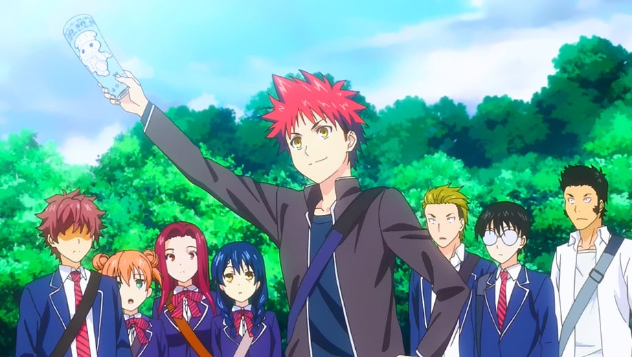 Watch Food Wars! Season 1 Episode 8 online via live stream - Pictured: Sōma Yukihira and the Polar Star Dormitory residents - Photo Credit: Sentai Filmworks / J.C.Staff / Toonami
