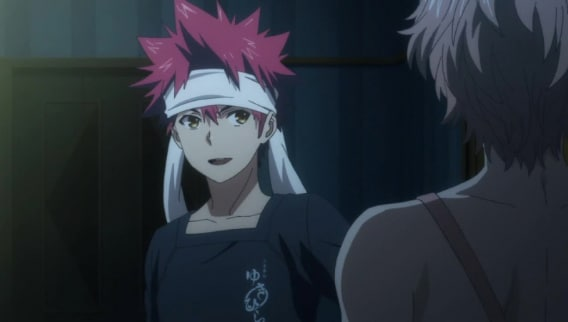 """Food Wars!: Shokugeki no Soma Episode 5 preview - """"The Ice Queen and the Spring Storm"""" - Pictured from left to right: Sōma Yukihira and Satoshi Isshiki - Photo Credit: Sentai Filmworks / Toonami"""