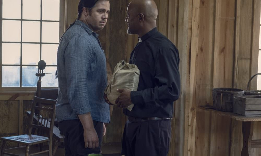 Seth Gilliam as Father Gabriel Stokes, Josh McDermitt as Dr. Eugene Porter - The Walking Dead _ Season 9, Episode 12 - Photo Credit: Gene Page/AMC