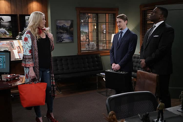 """LAST MAN STANDING: 150'th Episode: L-R: Guest star Melissa Peterman, Christoph Sanders and Jonathan Adams in the """"Yass Queen"""" episode of LAST MAN STANDING airing Friday, April 19 (8:00-8:30 PM ET/PT) on FOX. ©2019 Fox Media LLC Cr: Michael Becker/FOX."""