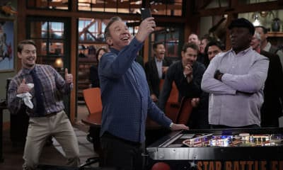 """LAST MAN STANDING: L-R: Christoph Sanders, Tim Allen and Jonathan Adams in the """"The Favourite"""" episode of LAST MAN STANDING airing Friday, May 3 (8:00-8:30 PM ET/PT) on FOX. © FOX MEDIA LLC. CR: Michael Becker / FOX."""