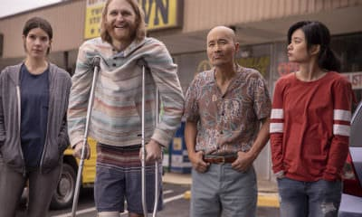 """Lodge 49 - Pictured from left to right: Sonya Cassidy as Liz Dudley, Wyatt Russell as Sean """"Dud"""" Dudley, Long Nguyen as Paul, Celia Au as Alice - Lodge 49 _ Season 2 - Photo Credit: Jackson Lee Davis/AMC"""