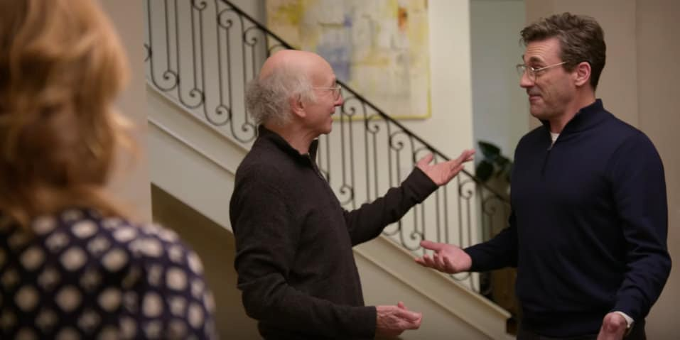 Larry David and Jon Hamm get kicked out of a dinner party in Curb Your Enthusiasm Season 10 Trailer by HBO -Screenshot / Photo Credit: HBO