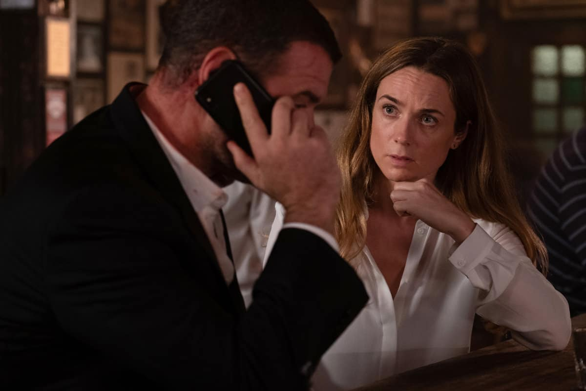 """Molly Sullivan looks at Ray Donovan - (L-R): Liev Schreiber as Ray Donovan and Kerry Condon as Molly Sullivan in RAY DONOVAN, """"The Transfer Agent"""". Photo Credit: Jeff Neumann/SHOWTIME."""
