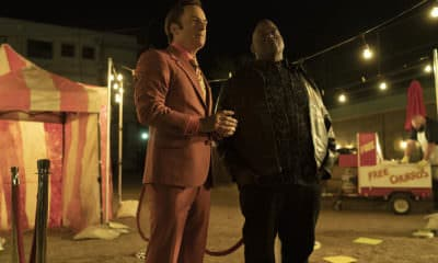 Bob Odenkirk as Jimmy McGill, Lavell Crawford as Huell Babineux - Better Call Saul _ Season 5, Episode 1 - Photo Credit: Warrick Page/AMC/Sony Pictures Television