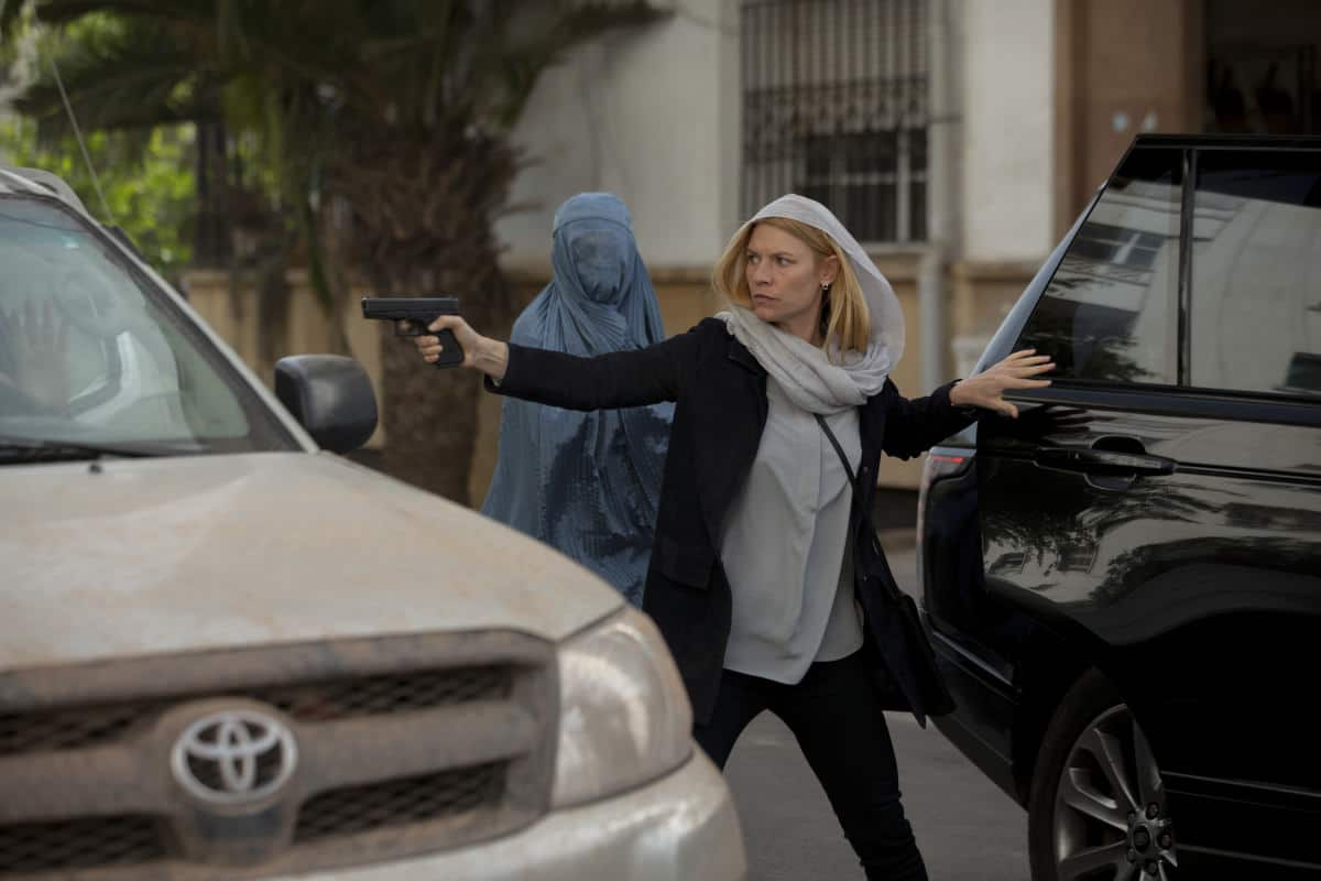 """Homeland Season 8 Episode 4 - Claire Danes as Carrie Mathison in HOMELAND, """"Chalk One Up"""". Photo Credit: Sifeddine Elamine/SHOWTIME"""