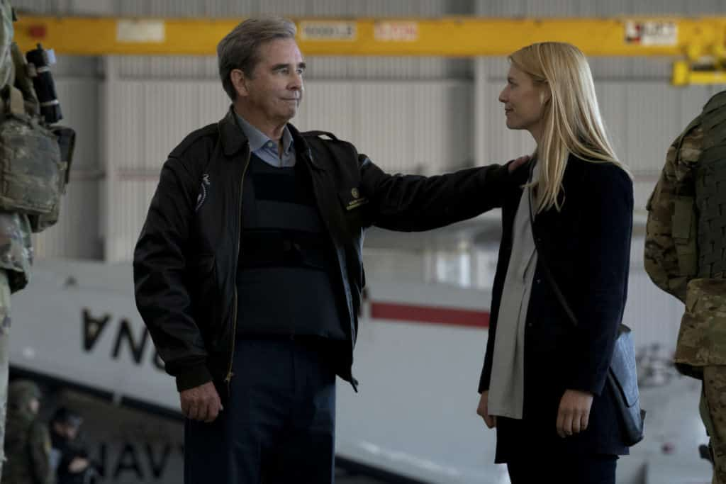 """Homeland Season 8 Episode 4 - (L-R): Beau Bridges as President Warner and Claire Danes as Carrie Mathison in HOMELAND, """"Chalk One Up"""". Photo Credit: Warrick Page/SHOWTIME"""