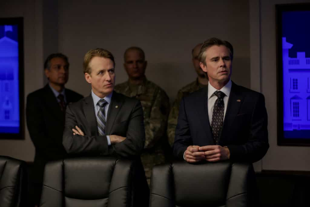 """L-R): Linus Roache as David Wellington and Sam Trammell as VP Benjamin Hayes in HOMELAND, """"Chalk Two Down"""". Photo Credit: Sifeddine Elamine/SHOWTIME."""