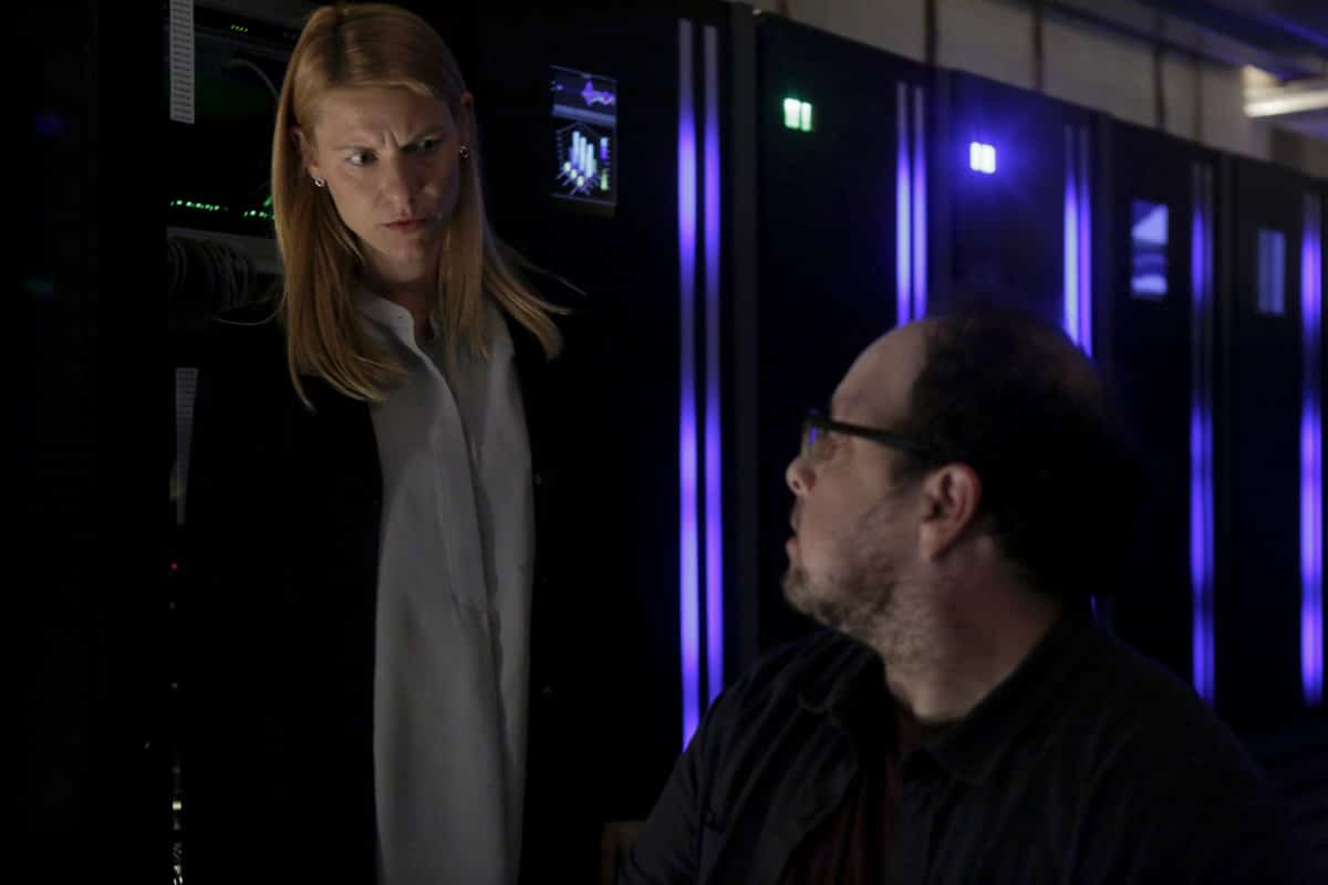 """Homeland Season 8 Episode 6 Recap - (L-R): Claire Danes as Carrie Mathison and Austin Basis as Lonnie in HOMELAND, """"Two Minutes"""". Photo Credit: Sifeddine Elamine/SHOWTIME."""