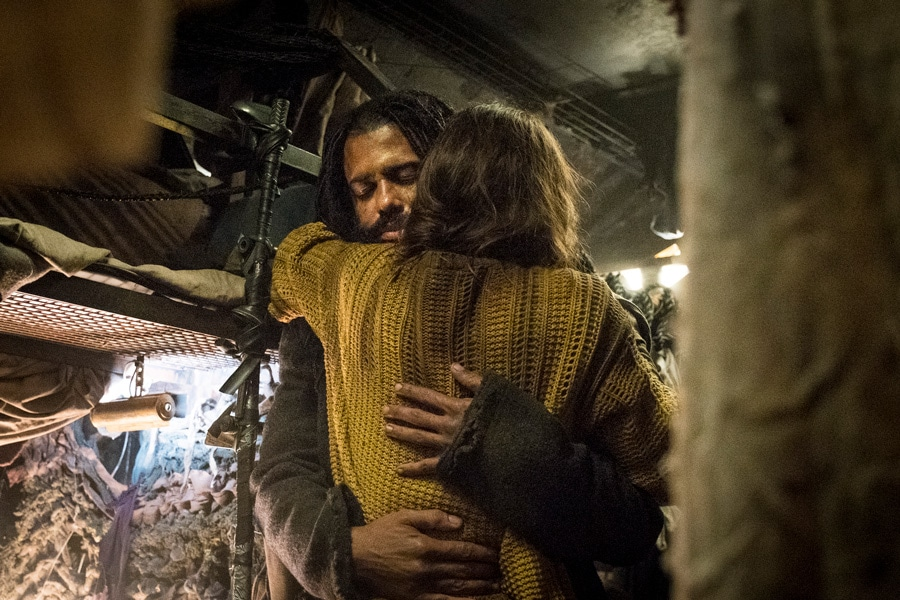 """Snowpiercer Series Premiere - Katie McGuinness as Josie Wellstead and Daveed Diggs as Andre Layton - Ep 101 - """"First, the Weather Changed"""" - BTS Photography - 8/20/18 - Photo Credit: Justina Mintz"""
