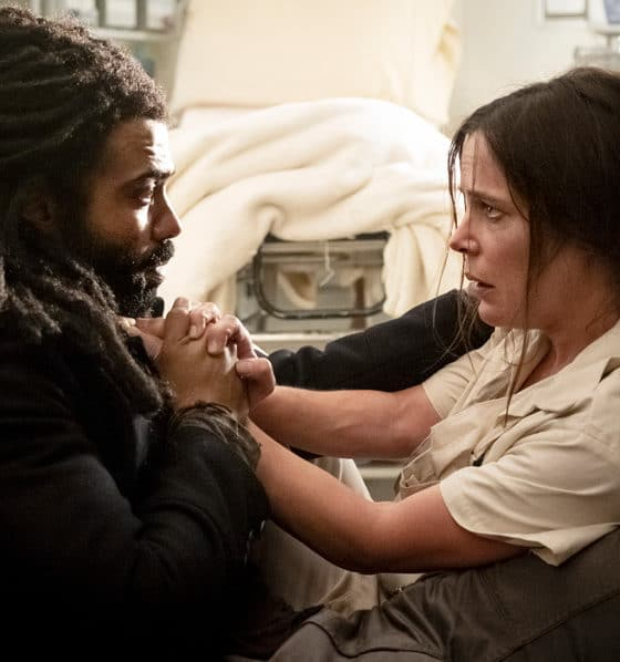 """Katie McGuinness as Josie Wellstead and Daveed Diggs as Andre Layton on TNT's Snowpiercer TV Series - Season 1 Episode 6 """"Trouble Comes Sideways"""" - Photo Credit: Justina Mintz"""