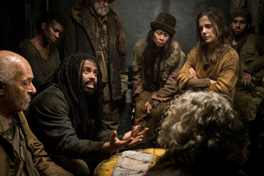 """Snowpiercer Series Premiere - """"First, the Weather Changed"""" - Pictured (from left to right) Mark Margolis as Old Ivan, Daveed Diggs as Andre Layton, and Katie McGuinness as Josie Wellstead - Ep 101 - BTS Photography - 8/20/18 - Photo Credit: Justina Mintz"""