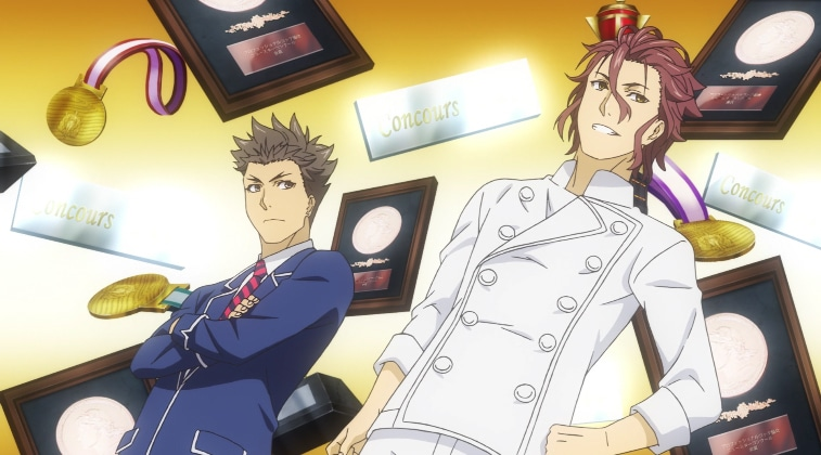 Joichiro Saiba and Gin Dojima in Food Wars! Season 3 'The Third Plate'. Screenshot via VRV's HIDIVE Channel. Credit: J.C.Staff and Sentai Filmworks