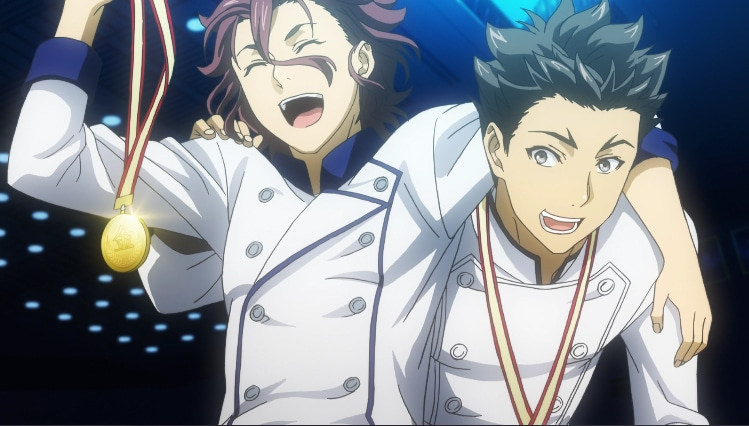 Joichiro Yukihira and Gin Dojima in Food Wars! Season 3 'The Third Plate'. Screenshot via VRV's HIDIVE Channel. Credit: J.C.Staff and Sentai Filmworks
