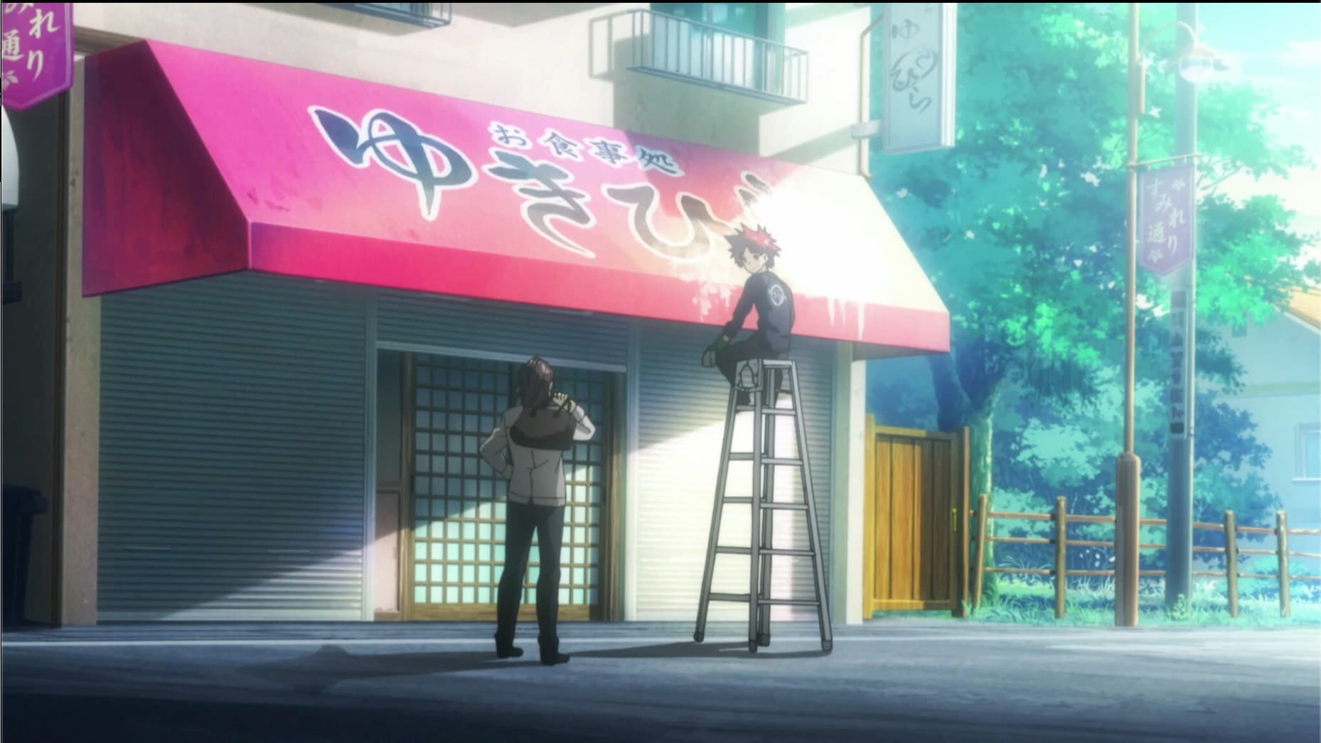 Joichiro Yukihira and Soma Yukihira in Food Wars! Season 1. Screenshot via VRV's HIDIVE Channel. Credit: J.C.Staff and Sentai Filmworks